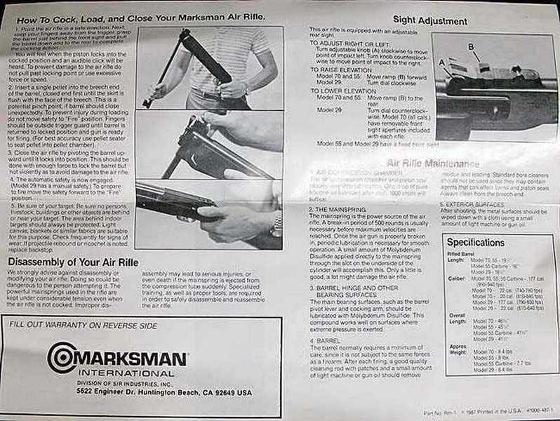 Marksman 70 manual inside