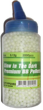 UHC Precision Ground Premium 6mm plastic airsoft BBs, 0.12g, 2000 rds, glow in the dark