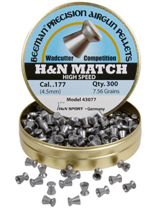 Beeman H&N High Speed Match .177 Cal, 7.56 Grains, Wadcutter, 300ct