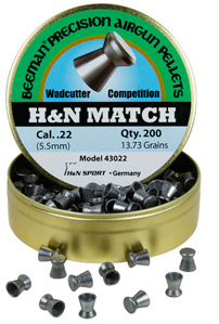 Beeman H&N Match .22 Cal, 13.73 Grains, Wadcutter, 200ct