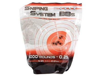 Sniping System .25g Airsoft BBs, White, Premium Grade, 4000 Rds