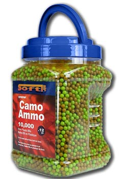 Crosman Camo Ammo 6mm plastic airsoft BBs, 0.12g, 10000 rds, green and tan