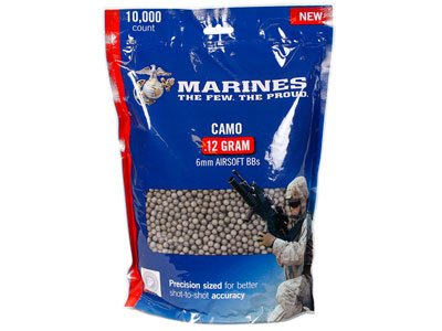 Marines Airsoft Camo Ammo Plastic Airsoft BBs, 0.12g, 10,000 Rds, Camo Color
