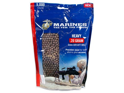 Marines Airsoft Heavy Plastic Airsoft BBs, 0.20g, 5,000 Rds, Brown
