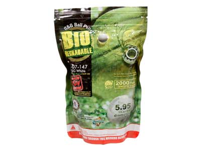 G&G Armament Perfect Spherical Seamless 6mm Biodegradable Airsoft BBs, 0.20g, White, 2,000 Rds