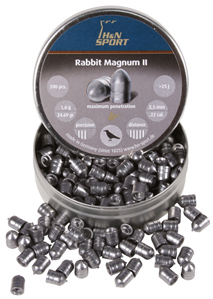 H&N Rabbit Magnum II .22 Cal, 24.69 Grains, Cylindrical, Solid, 200ct Haendler & Natermann