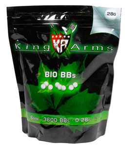 King Arms 6mm Biodegradable airsoft BBs, 0.28g, 3600 rds, white