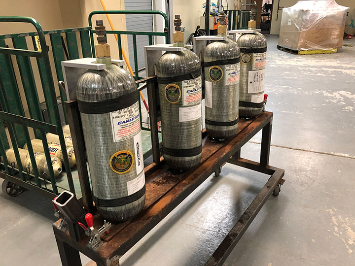 Cylinders pulled from warehouse waiting to go into cleaning program