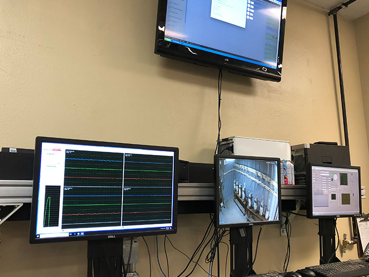 Monitors showing MAE test data during SBA test