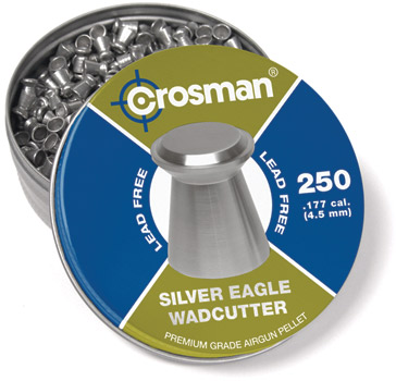 Crosman Silver Eagle Pellets .177 Cal, 5.2 Grains, Wadcutter, Lead-Free, 250ct