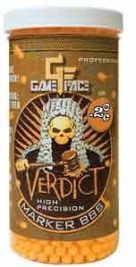 Game Face Verdict 6mm Marking Airsoft BBs, 0.20g, 2200 rds, Orange