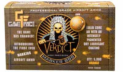 Game Face Verdict 6mm Marking Airsoft BBs, 0.20g, 5000 rds, Orange