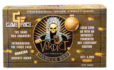 Game Face Verdict 6mm Marking Airsoft BBs, 0.25g, 5000 rds, Orange