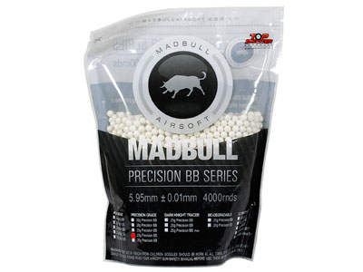 Mad Bull Precision Grade 6mm plastic airsoft BBs, 0.25g, 4,000 rds, white