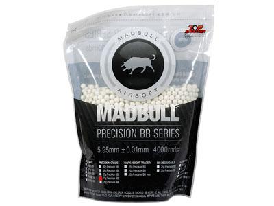 Mad Bull Precision Grade 6mm plastic airsoft BBs, 0.25g, 4,000 rds, white