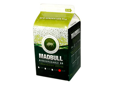 Mad Bull .28g Biodegradable PLA Airsoft BBs, 3000 Rds