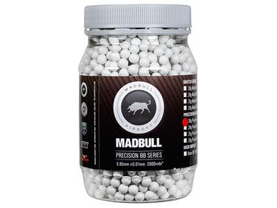 Mad Bull Precision Grade 6mm plastic airsoft BBs, 0.30g, 2,000 rds, white