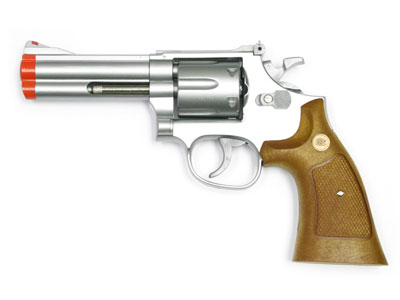 933 UHC 4 inch revolver, Silver/Brown