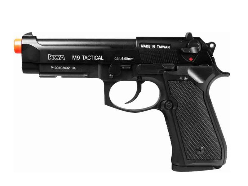 KWA M9 Tactical PTP Metal Gas Pistol, Weaver Rail 6mm Image