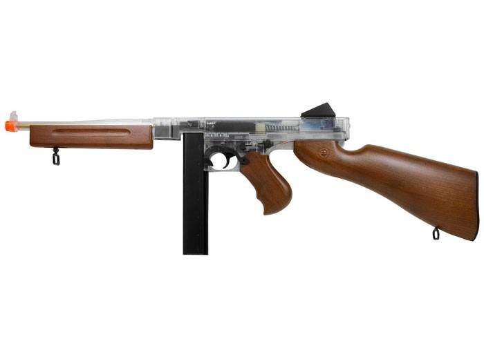 Thompson M1A1 Airsoft Submachine Gun, Clear/Wood
