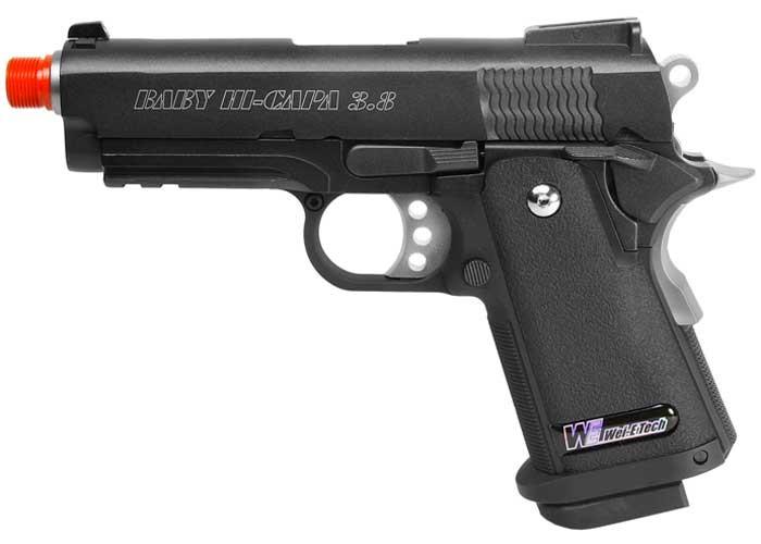 WE Baby Hi-Capa 3.8 Wave Airsoft Pistol, Black