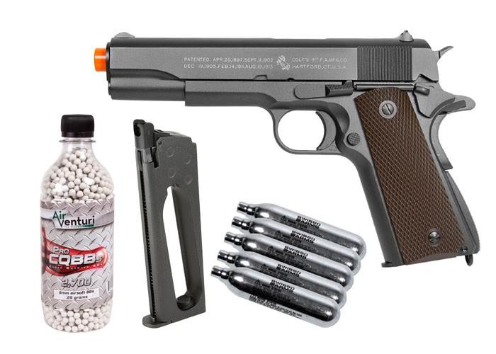 Colt 1911 CO2 Metal Blowback Airsoft Pistol, Kit