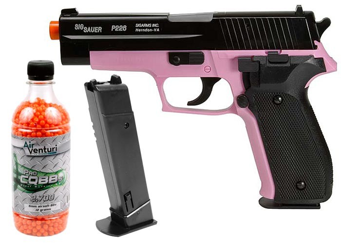 SIG Sauer P226 Airsoft Pistol Kit, Pink/Black
