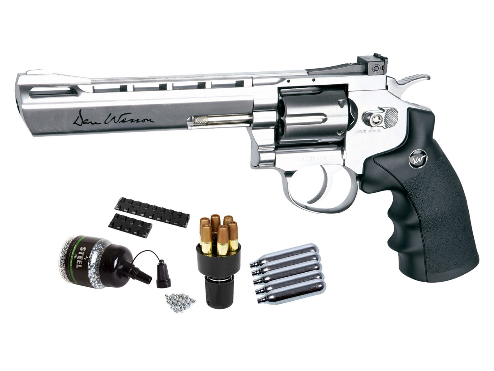 "Dan Wesson 6"" CO2 BB Revolver Kit, Silver"