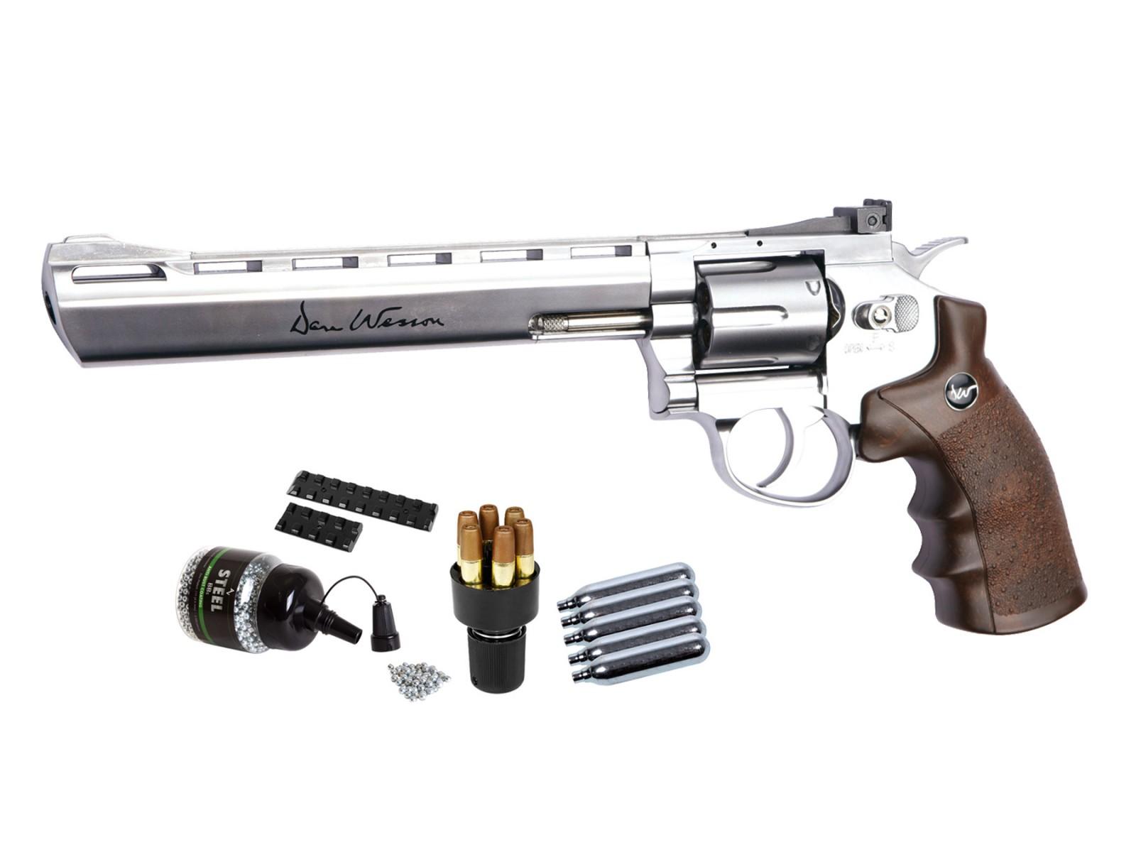 """Dan Wesson 8"""" CO2 BB Revolver Kit, Silver"""
