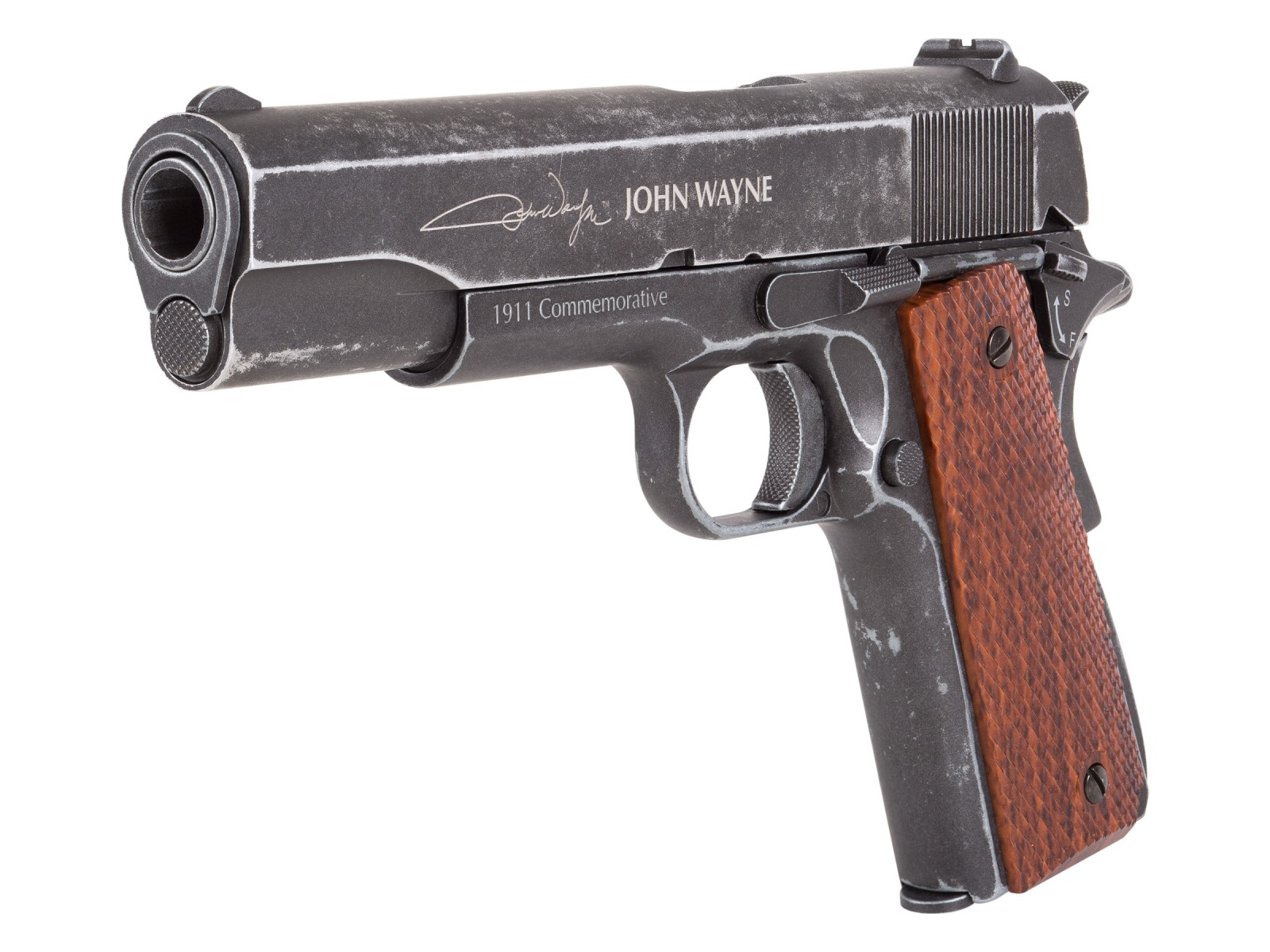 John Wayne 1911 Metal CO2 BB Pistol, Brown Grips