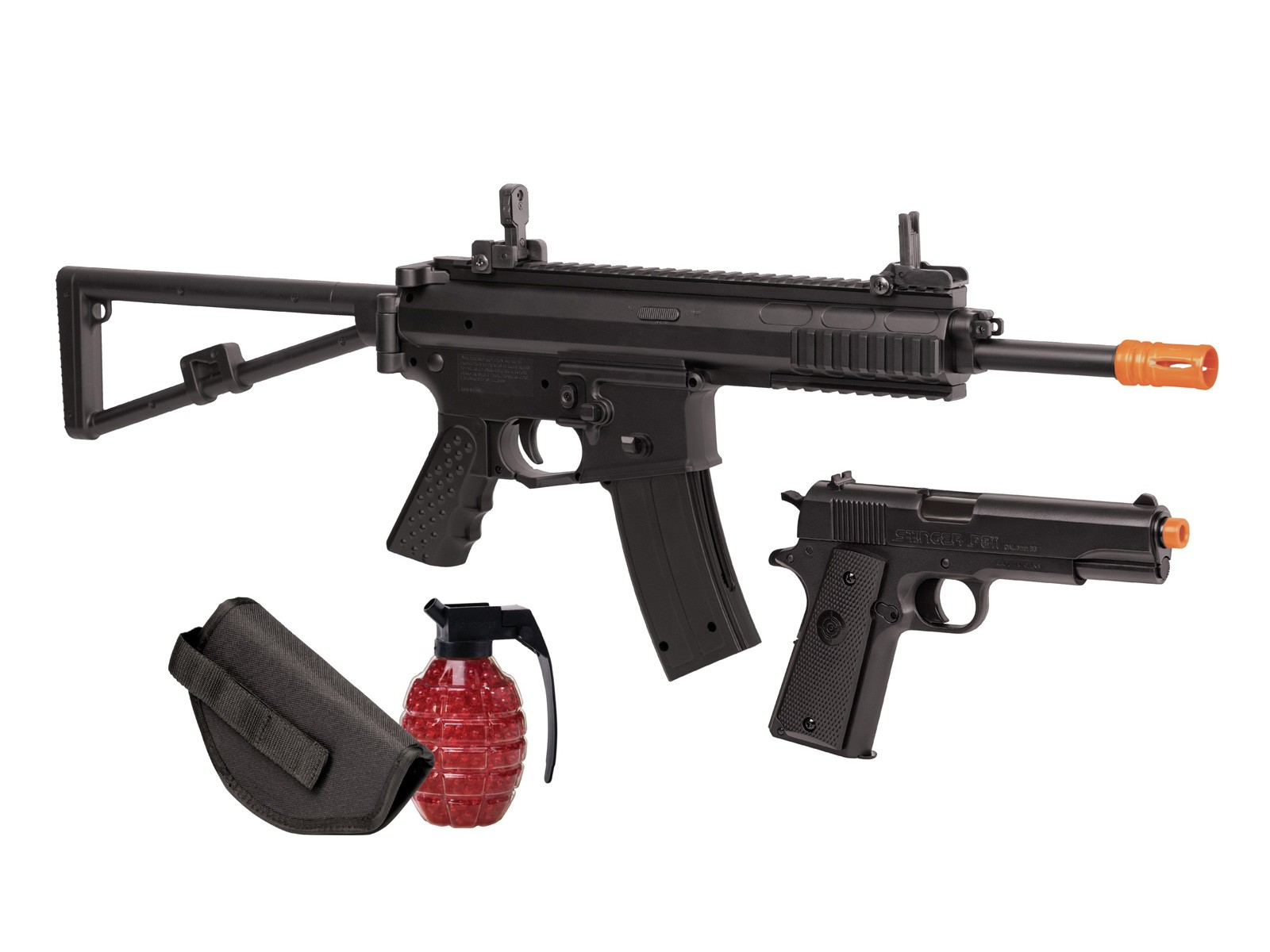 Crosman AREKT Elite Commado Airsoft Rifle & Pistol Kit, Blac