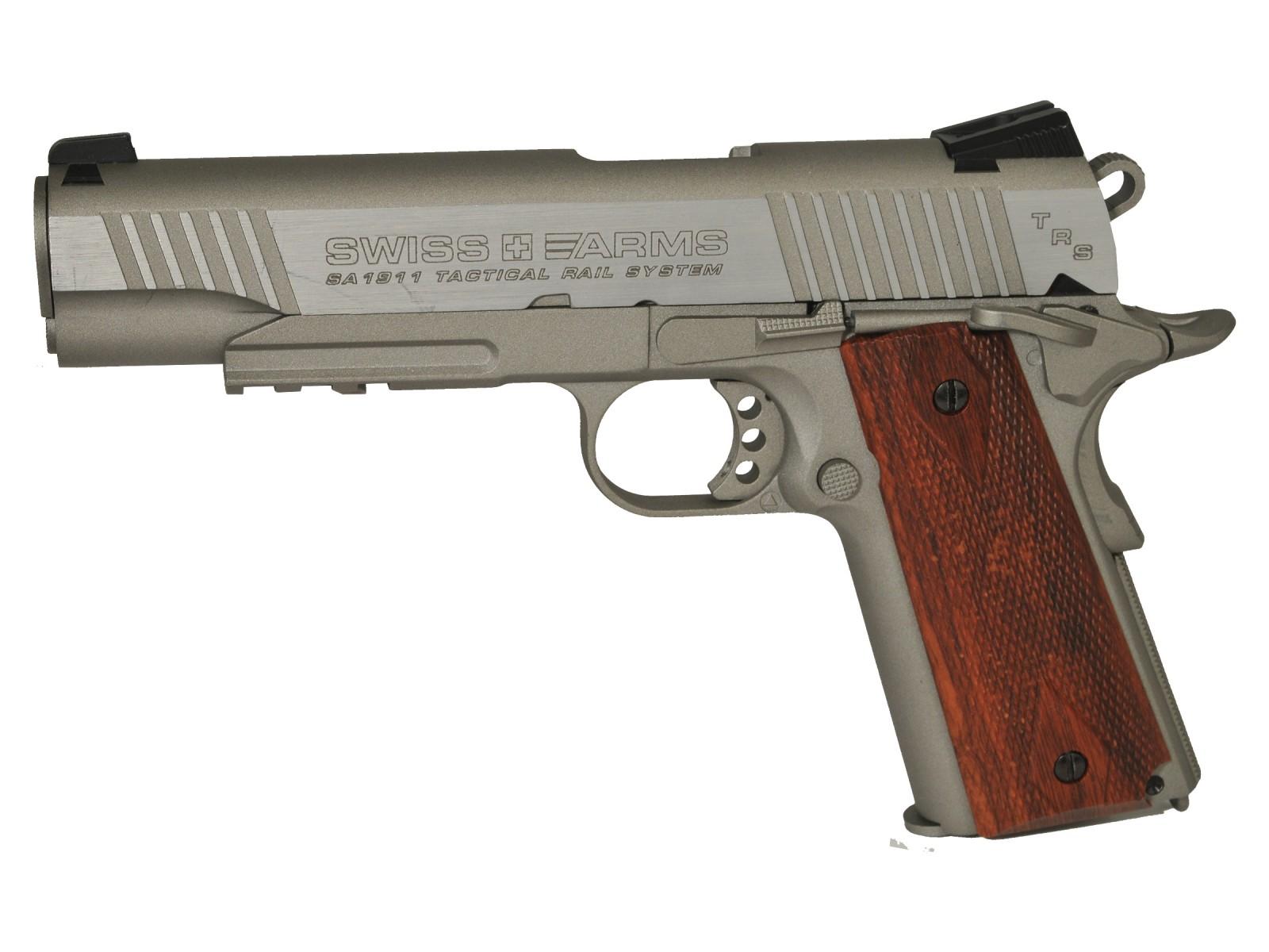 Cheap Swiss Arms SA 1911 TRS CO2 BB Pistol, Brown Grips 0.177