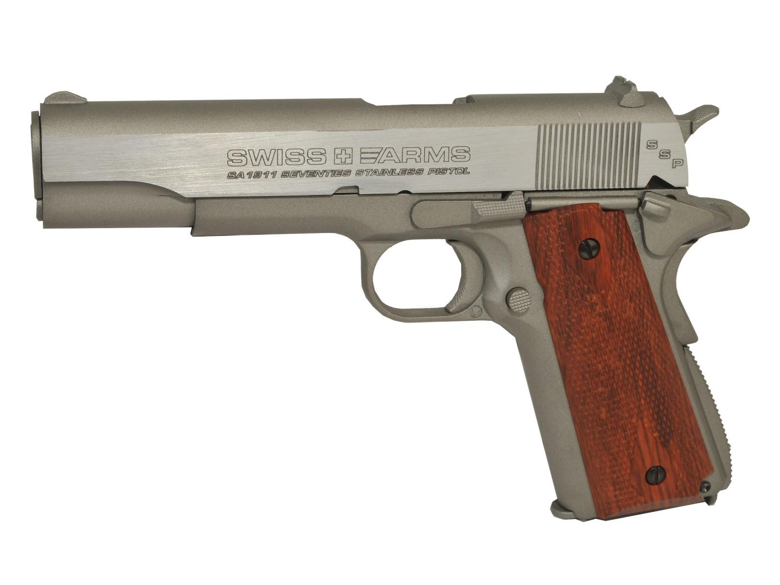 Swiss Arms SA 1911 SSP CO2 BB Pistol, Brown Grips