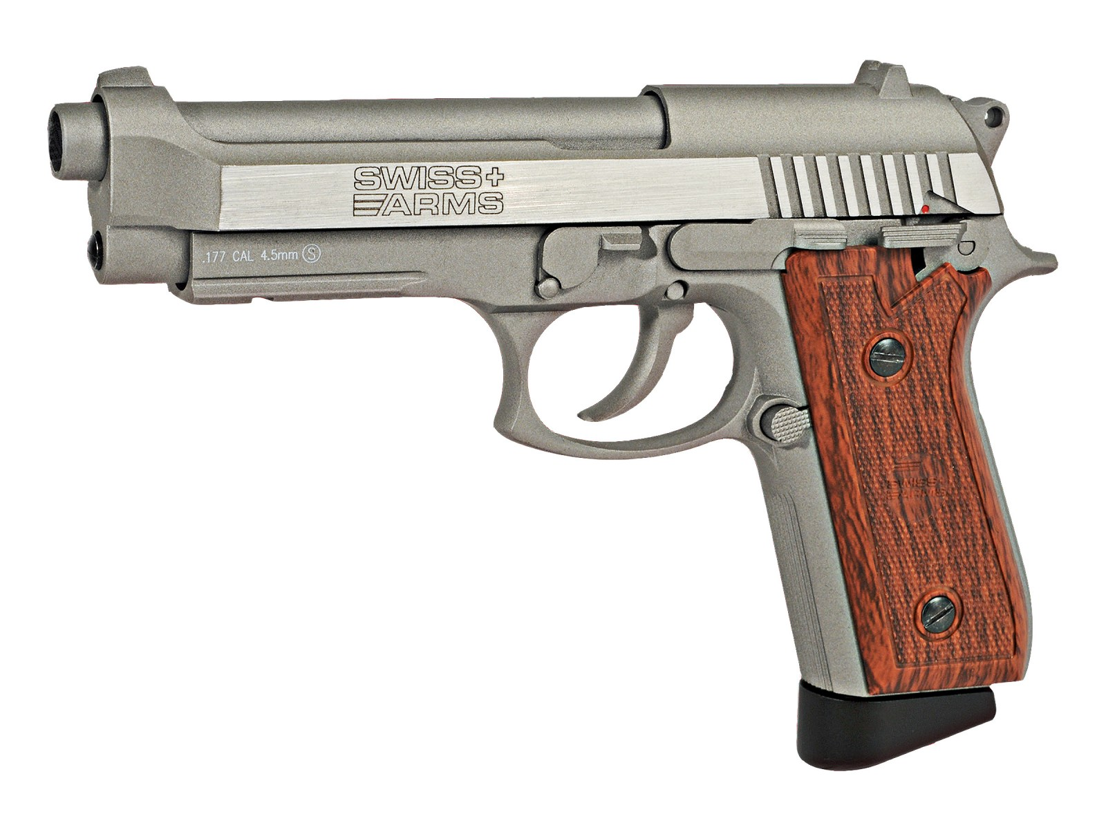 Cheap Swiss Arms SA92 CO2 Stainless Pistol, Brown Grips 0.177
