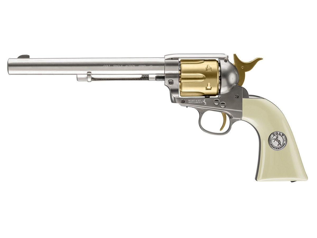 "Colt Peacemaker 7.5"" CO2 Pellet Revolver, Nickel Gold"