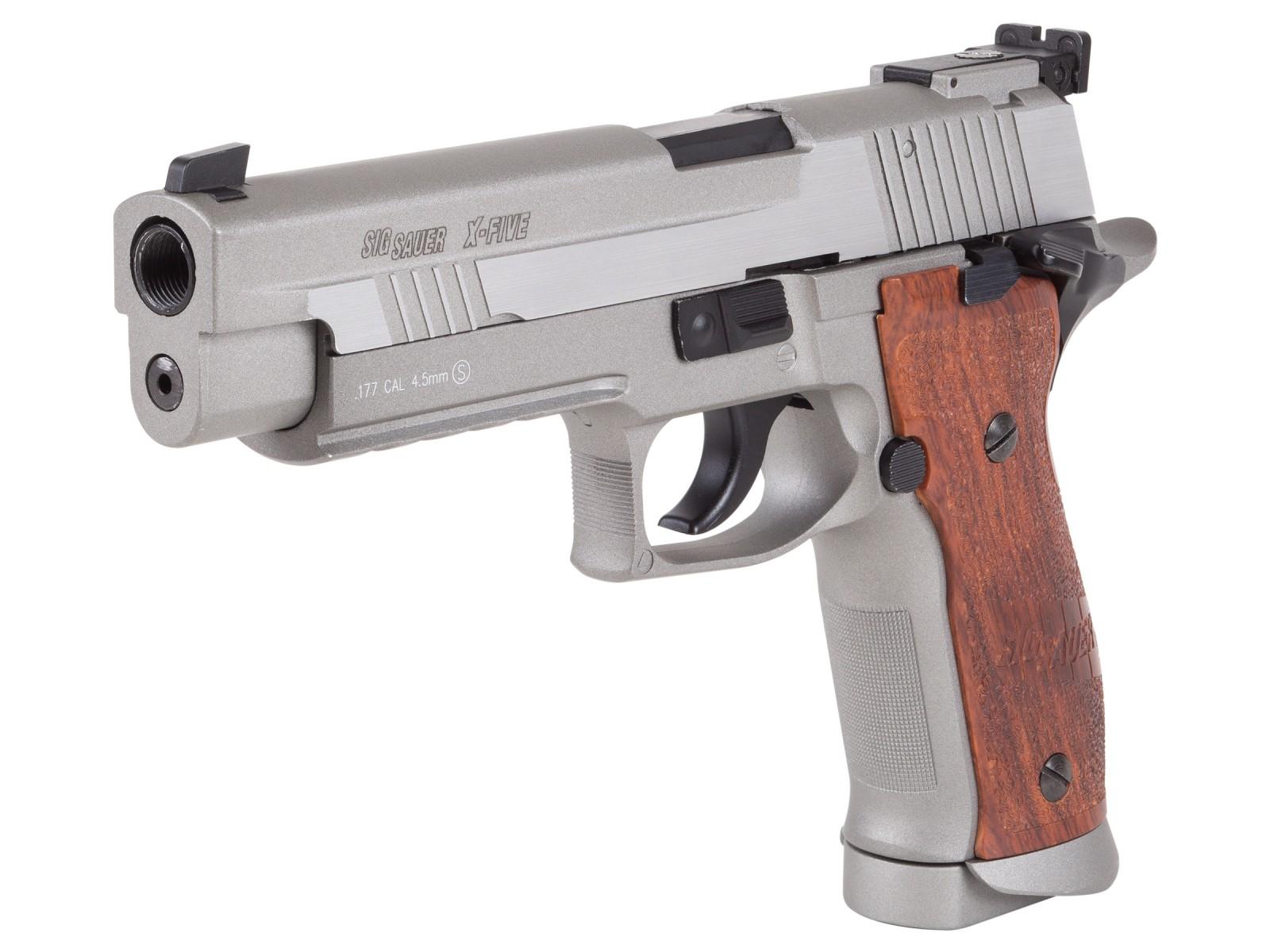 SIG Sauer P226 X-Five .177 CO2 Pistol, Silver/Wood Grips