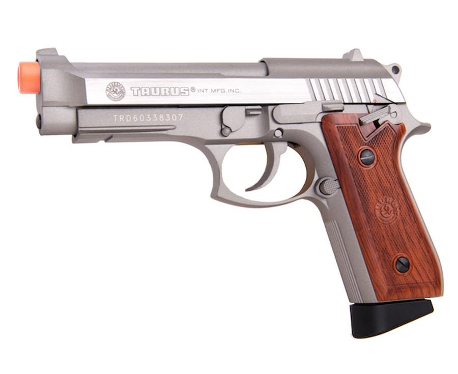Taurus PT92 CO2 Full Metal Pistol, Silver/Wood
