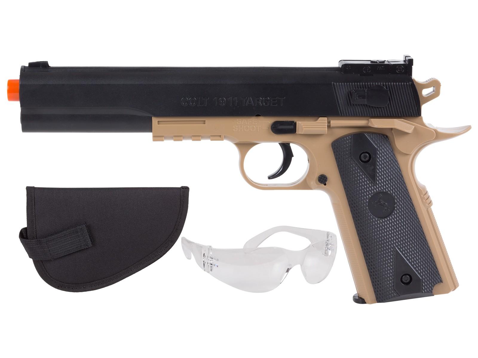 Colt 1911 Spring Airsoft Kit, Black & Tan 6mm