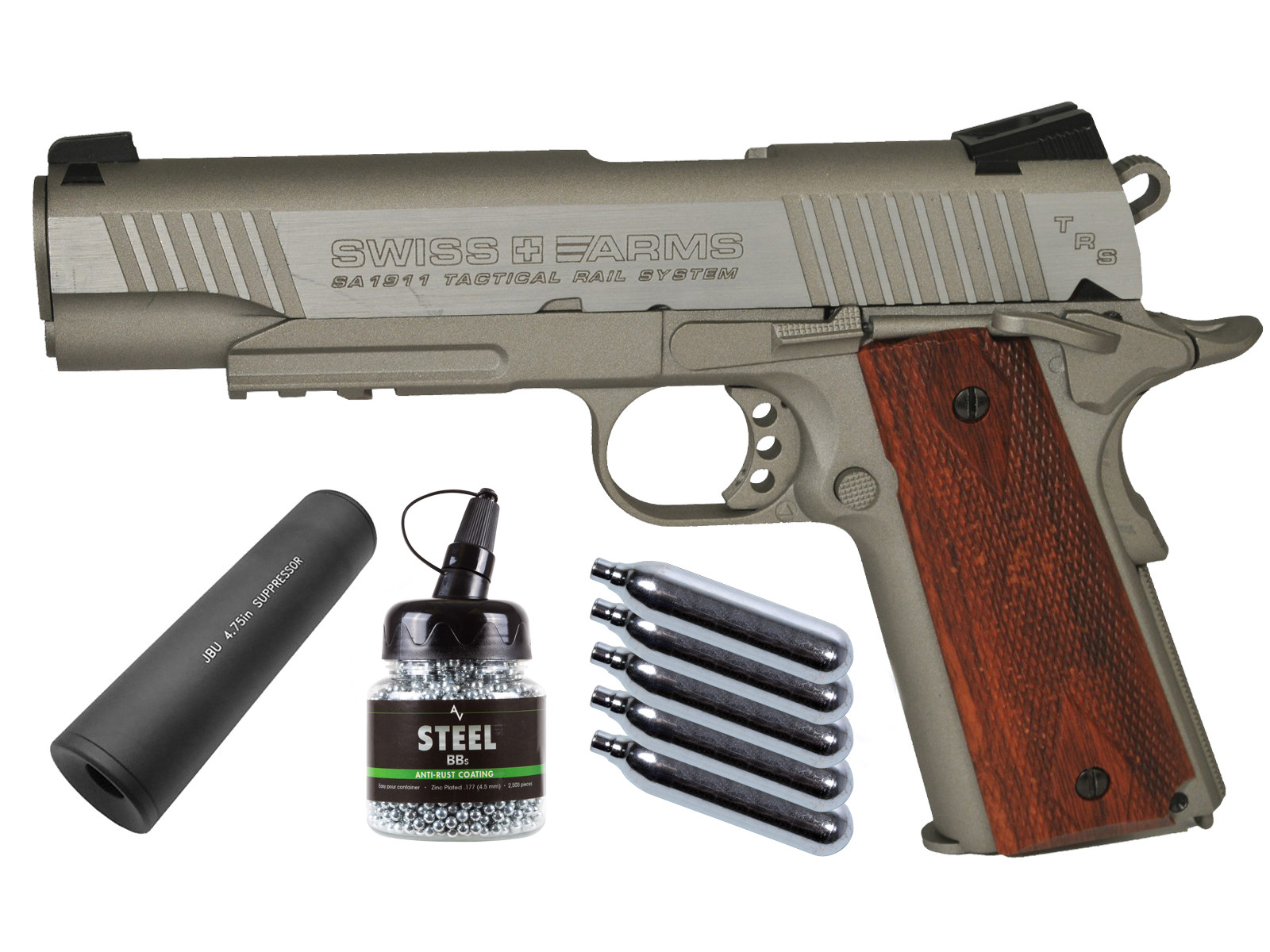 Swiss Arms SA 1911 TRS CO2 BB Pistol with Faux Suppressor, B 0.177