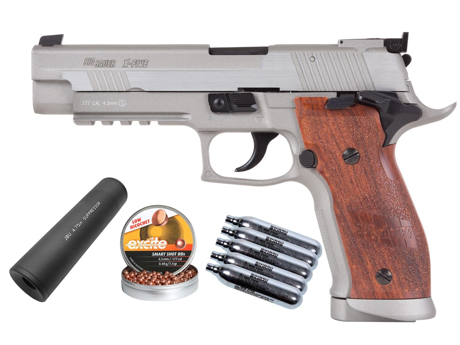 SIG Sauer P226 X-Five .177 CO2 Pistol Kit, Silver/Wood Grips