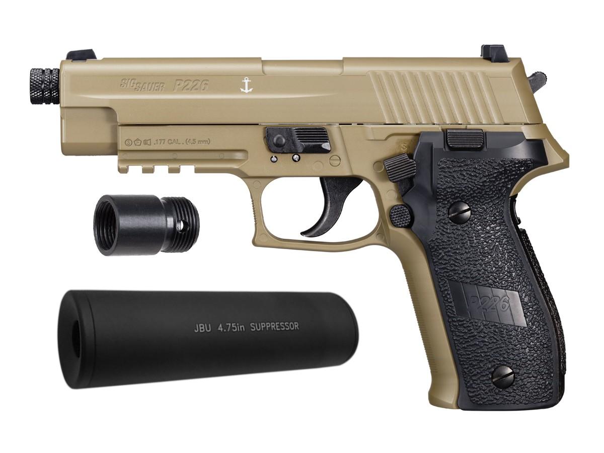 sig sauer p226 co2 pellet pistol suppressor kit flat dark e air guns