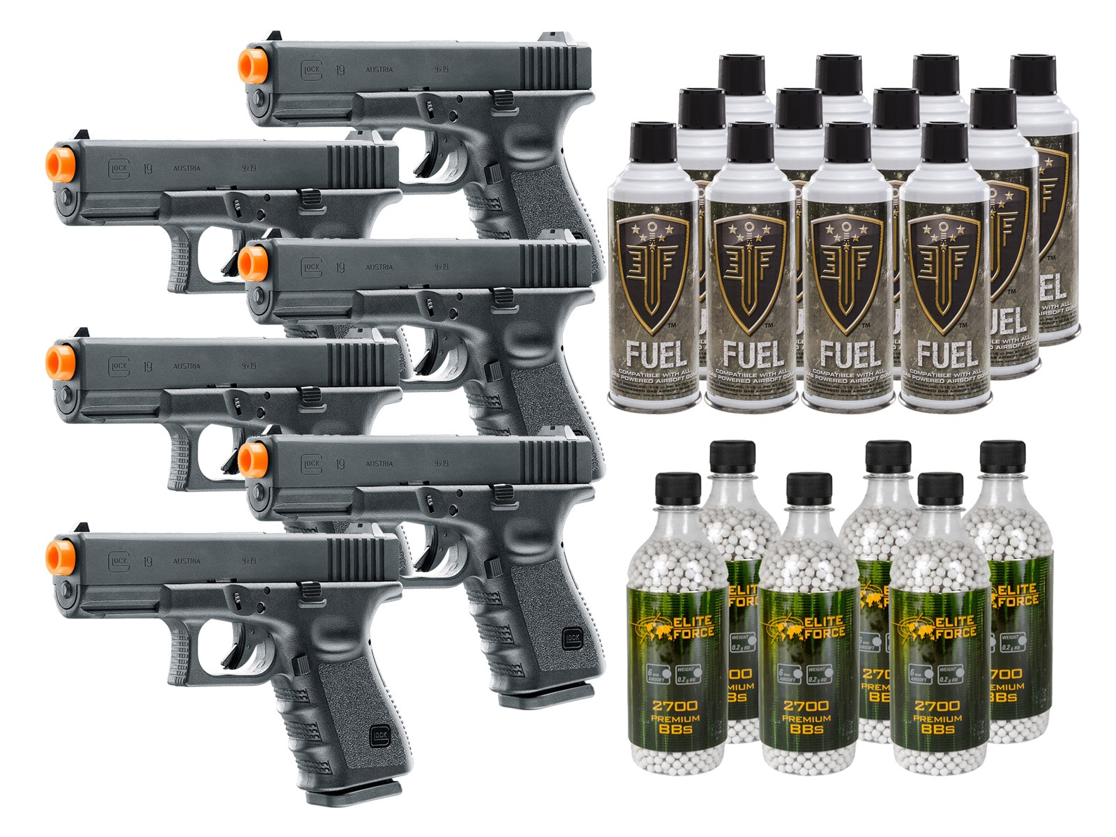Umarex Glock 19 Gbb Airsoft Pistol Kit Incl 6 Pistols Airsoft Guns