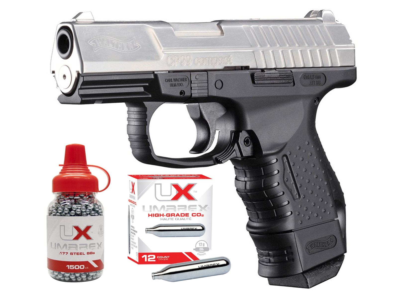 Walther CP99 Compact CO2 BB Air Pistol Kit, Nickel 0.177 Image