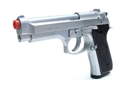UHC 92 Airsoft Spring Pistol, Silver w/Black Grips