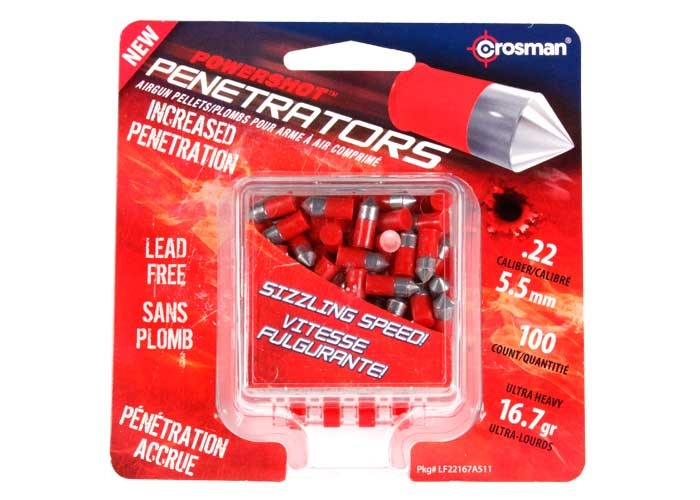 Crosman PowerShot Red Flight Penetrator Pellets, .22 Cal, 16.7 Grains, Lead-Free, 100ct