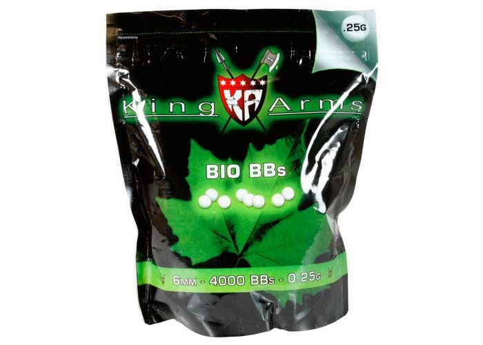 King Arms 6mm Biodegradable Airsoft BBs, 0.25g, 4,000 Rds, White