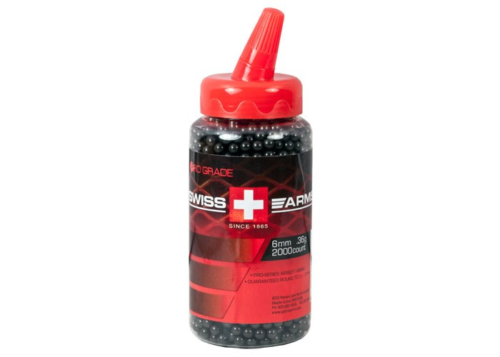 Swiss Arms 6mm Airsoft BBs, 0.36g, 2,000 Rds, Black