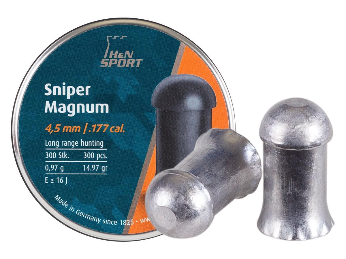 H&N Sniper Magnum Pellets, .177 Cal, 15 Grains, Domed, 300ct