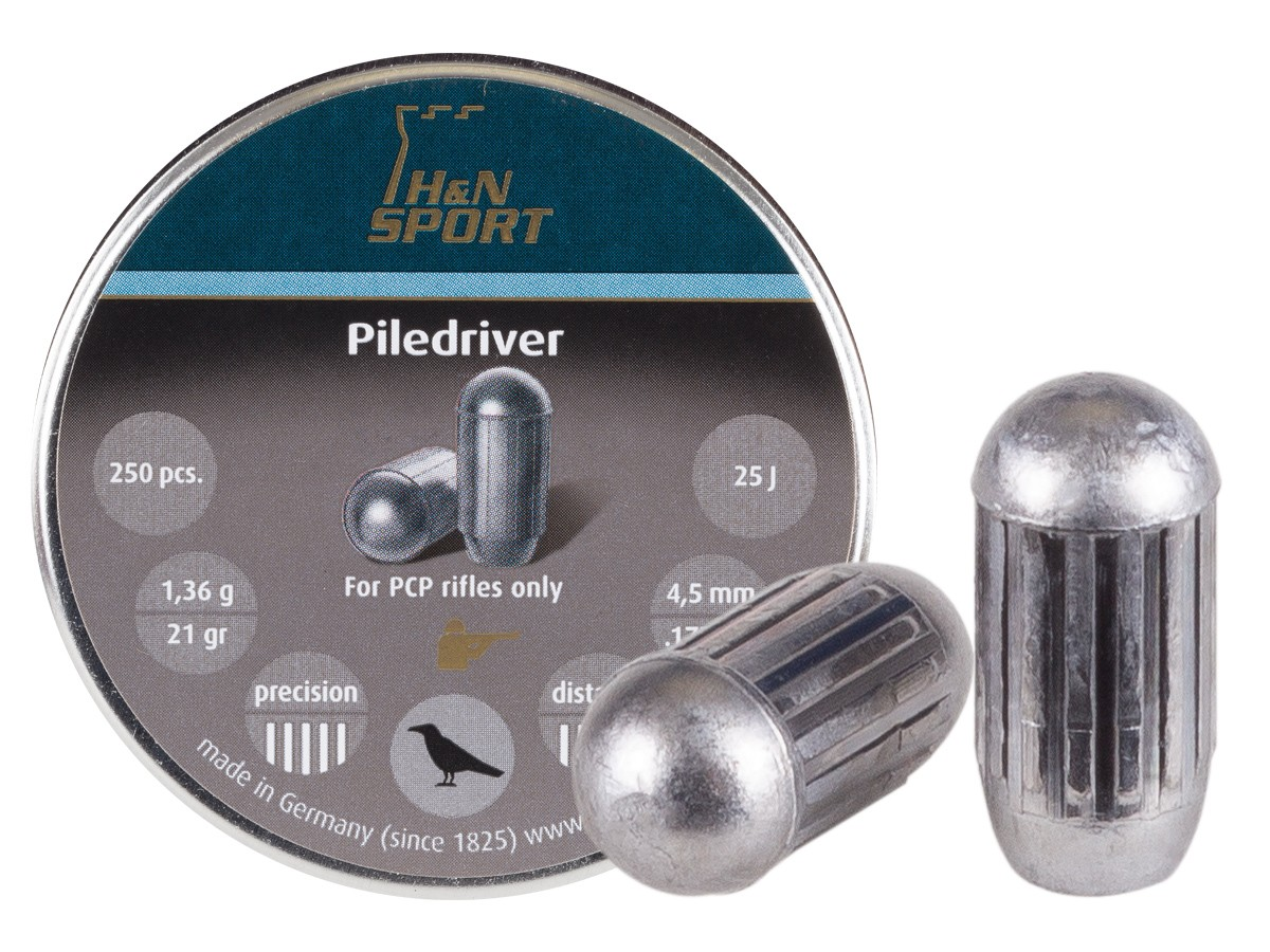 H&N Piledriver Pellets, .177 Cal, 4.46mm Dia., 21 Grains, Domed, 250ct