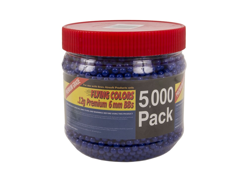 Flying Colors 6mm Plastic Airsoft BBs, 0.12g, 5,000 rds, Blue